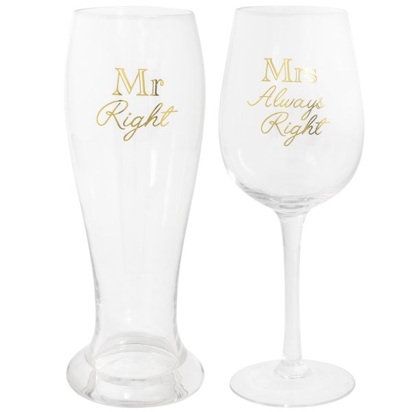 GOLD MR & MRS A/RIGHT GLASSES