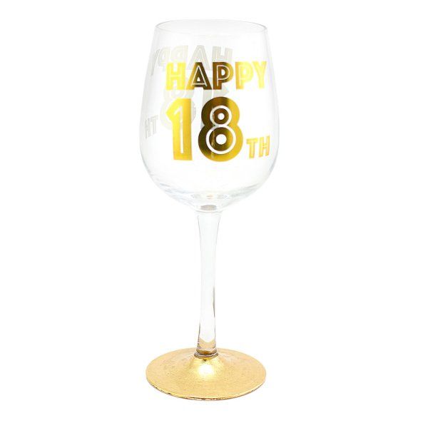 HAPPY 18TH WINE GLASS