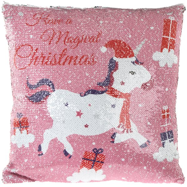 CHRISTMAS UNICORN SEQUIN CUSH