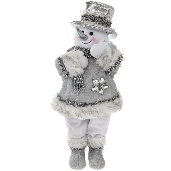 SILVER STANDING SNOWMAN