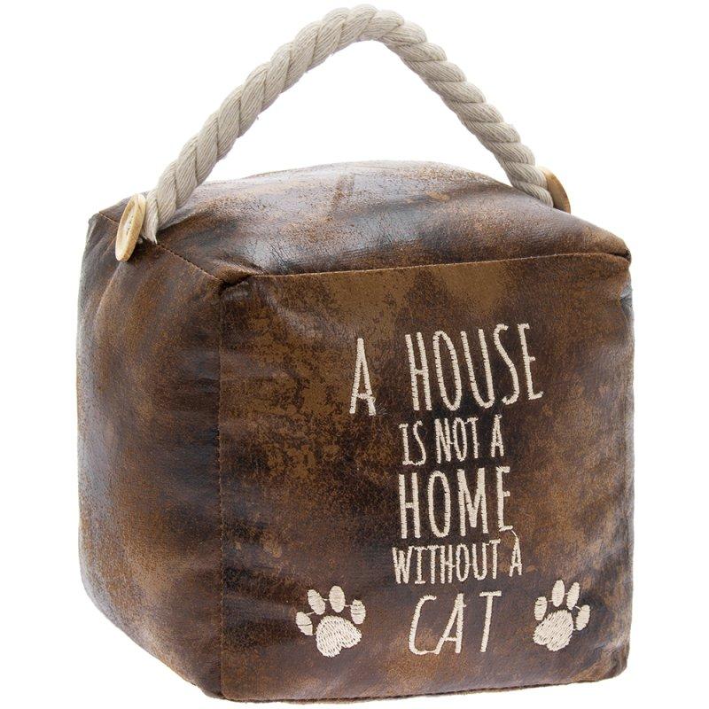 FAUX LEATHER CAT DOORSTOP