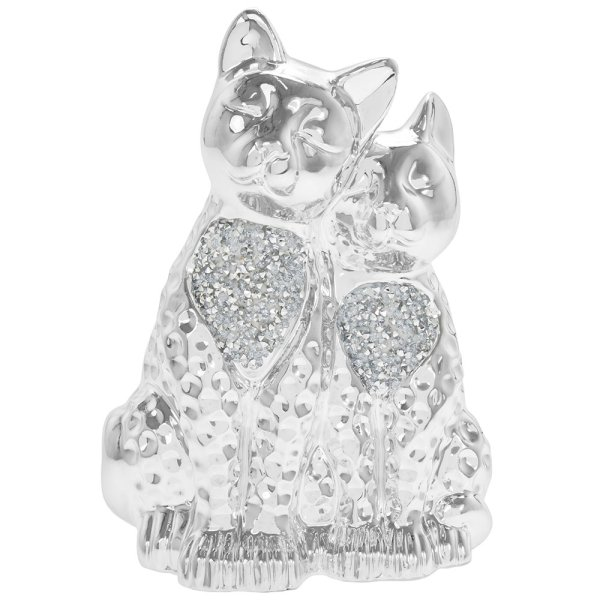 SILVER SPARKLE TWIN CATS