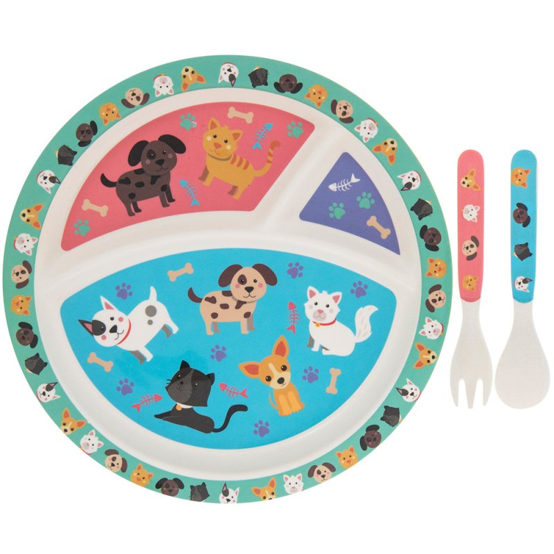 BAMBOO ECO EATING SET CAT&DOG
