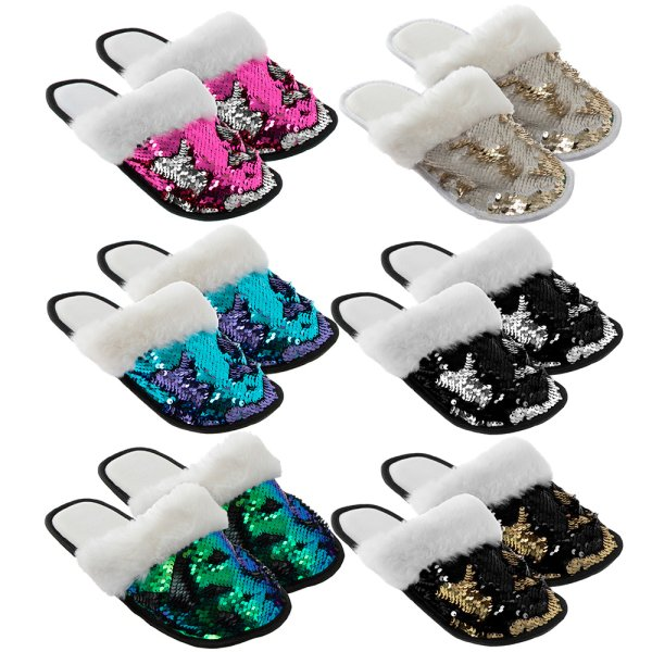 SEQUIN SLIPPER 6 ASST
