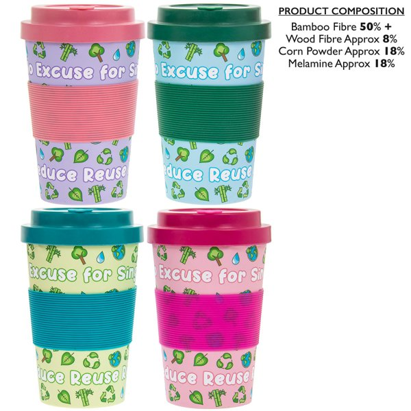 BAMBOO TRAVELMUG NO EXCUSE 4AS