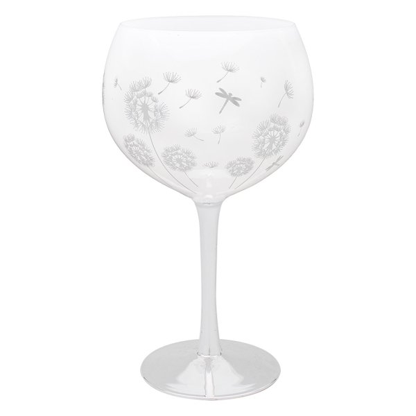 DRAGONFLY SIL/WHT GIN GLASS