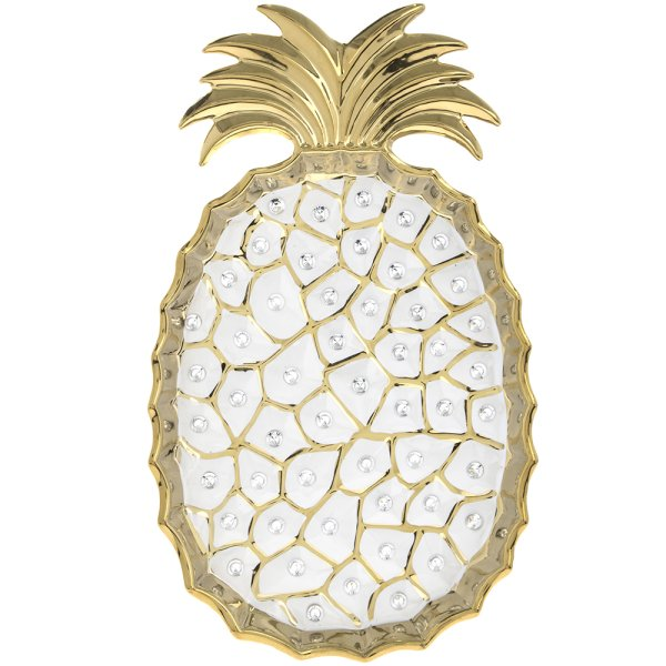PINEAPPLE DISH GOLD 12""