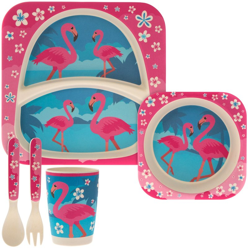 BAMBOO ECO EATING SET FLAMINGO