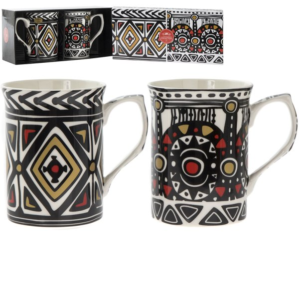 TRIBAL MUGS SET OF 2