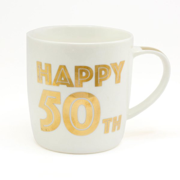 GOLD HAPPY 50TH BIRTHDAY MUG