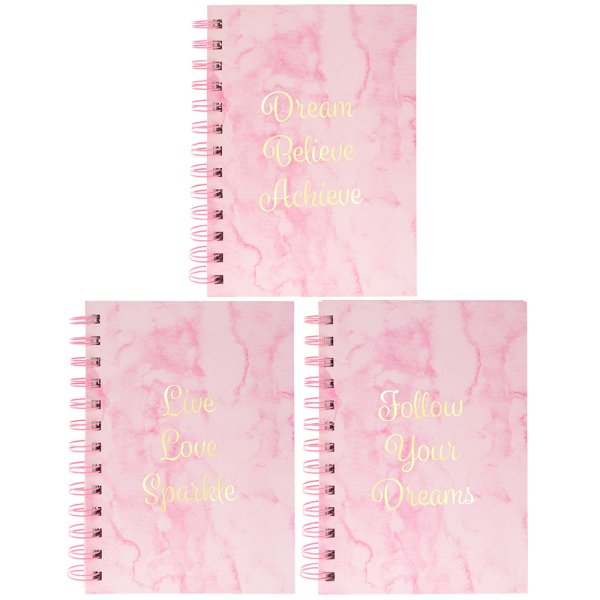 MARBLE PINK NOTEBOOK 3 ASS