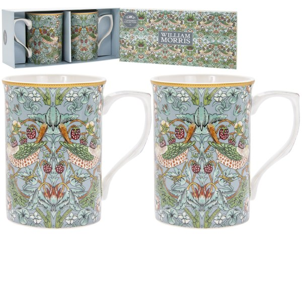 S'BERRY THIEF TEAL MUGS SET 2