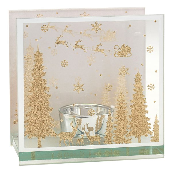 XMAS GOLD GLITTER TLIGHT HOLD
