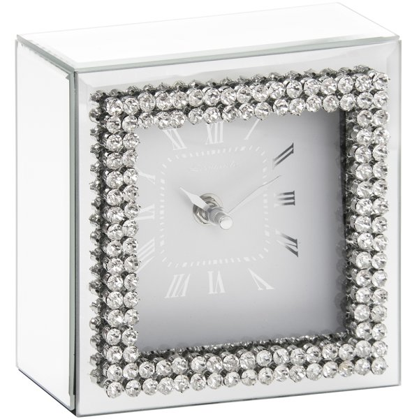 DIAMANTE MIRROR CLOCK