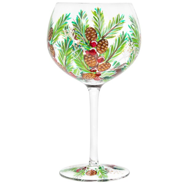XMAS HAND PAINTED GIN GLASS