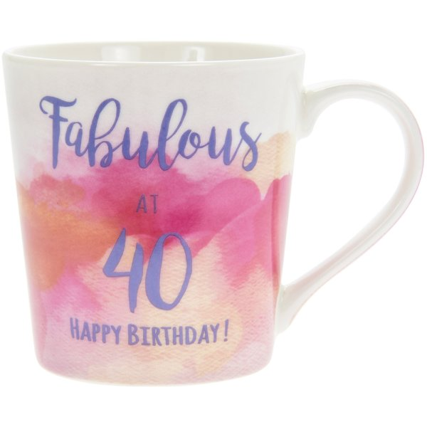 WATERCOLOUR HAPPY 40TH MUG