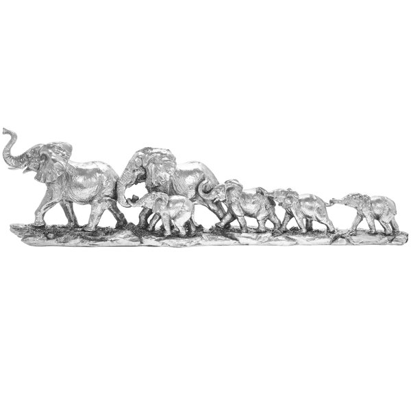 SILVER ART ELEPHANTS TRAIN