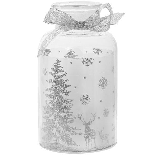 CHRISTMAS LED JAR SILVER