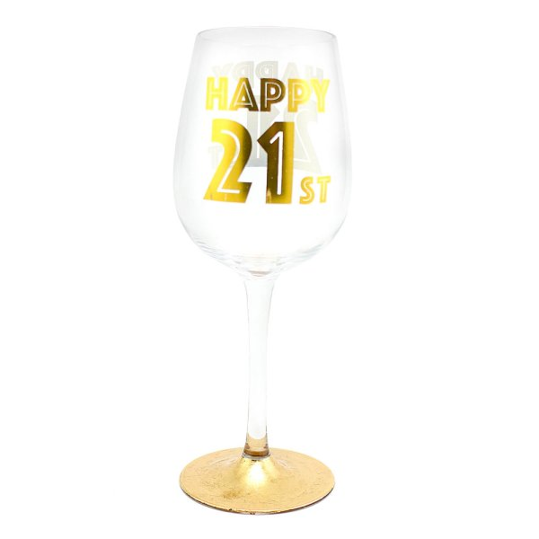 HAPPY 21ST WINE GLASS