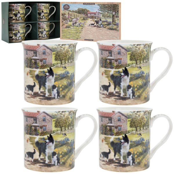 COLLIE & SHEEP MUGS SET OF 4