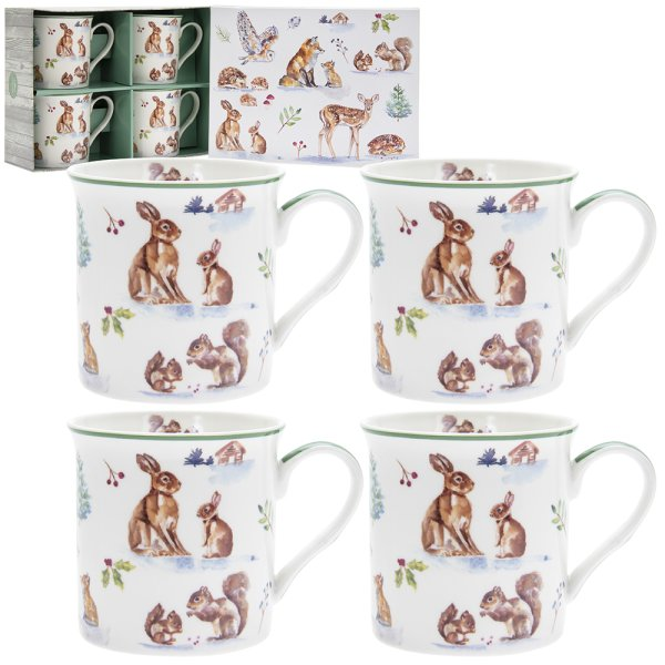 WINTER FOREST MUGS 4AS S4
