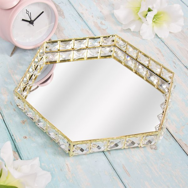 GOLD CRYSTAL TRAY HEX 28CM