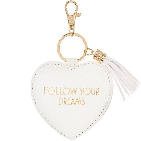 FOLLOW YOUR DREAMS KEYRING WHT