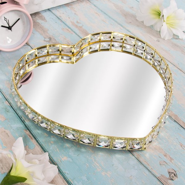 GOLD CRYSTAL TRAY HEART L