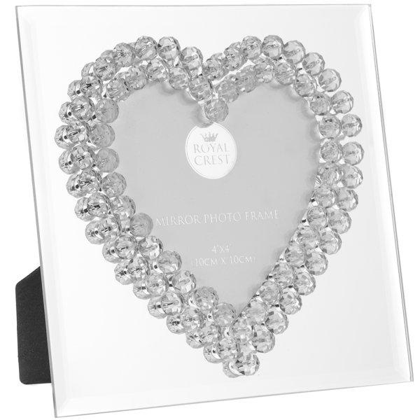 "MIRROR DIAMANTE HEART FRM 4X4"""