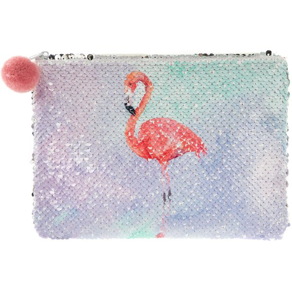 FLAMINGO SEQUIN COSMETIC POUCH