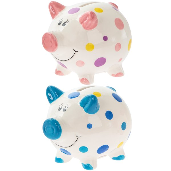 PIGGY MONEY BOX SMALL 2 ASST