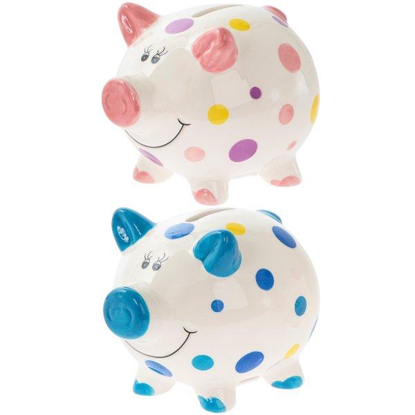PIGGY MONEY BOX SMALL 2 ASST