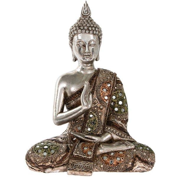 """SILVER ART THAI BUDDHA 11"""""""