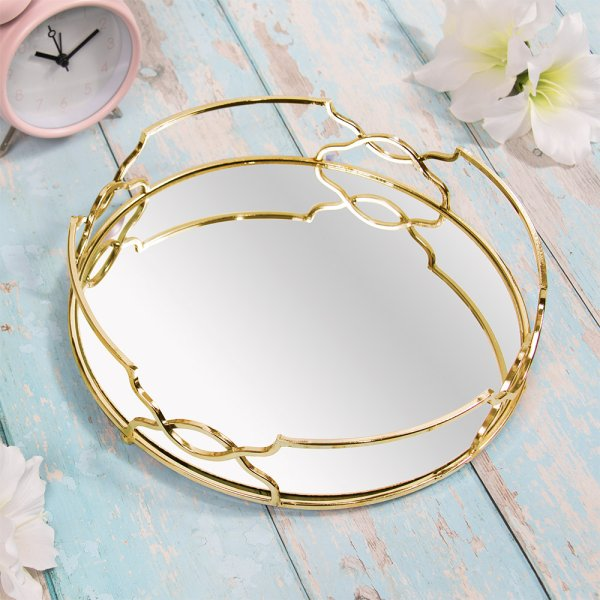GOLD CRYSTAL TRAY ROUND 26 CM