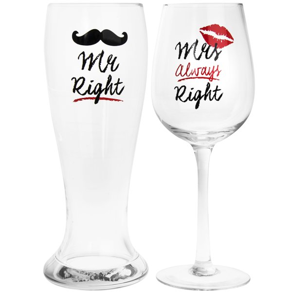 MR&MRS RIGHT BEER&WINE GLASSES