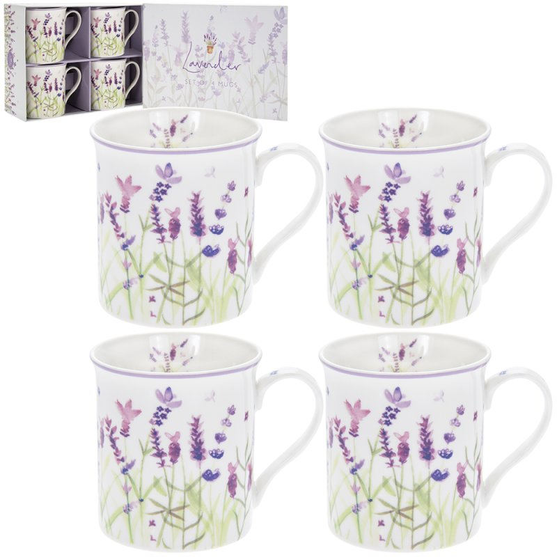 LAVENDER SET OF 4 MUGS