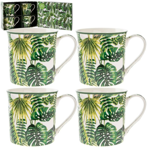 TROPICAL LEAF MUGS 4 SET