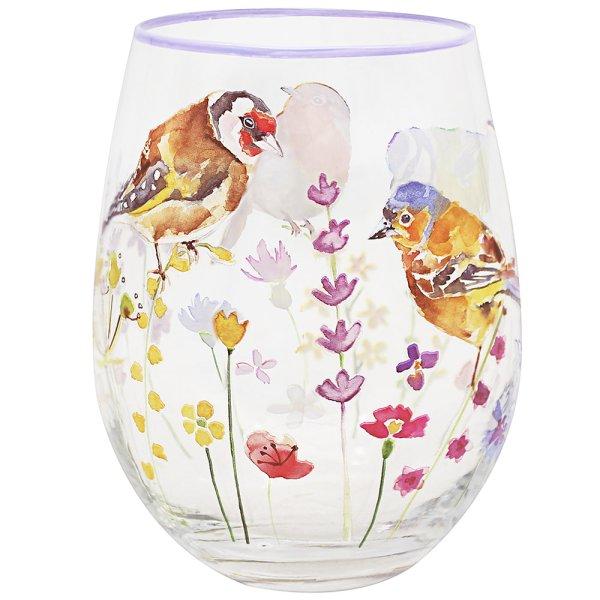 GARDEN BIRDS STEMLESS GLASS