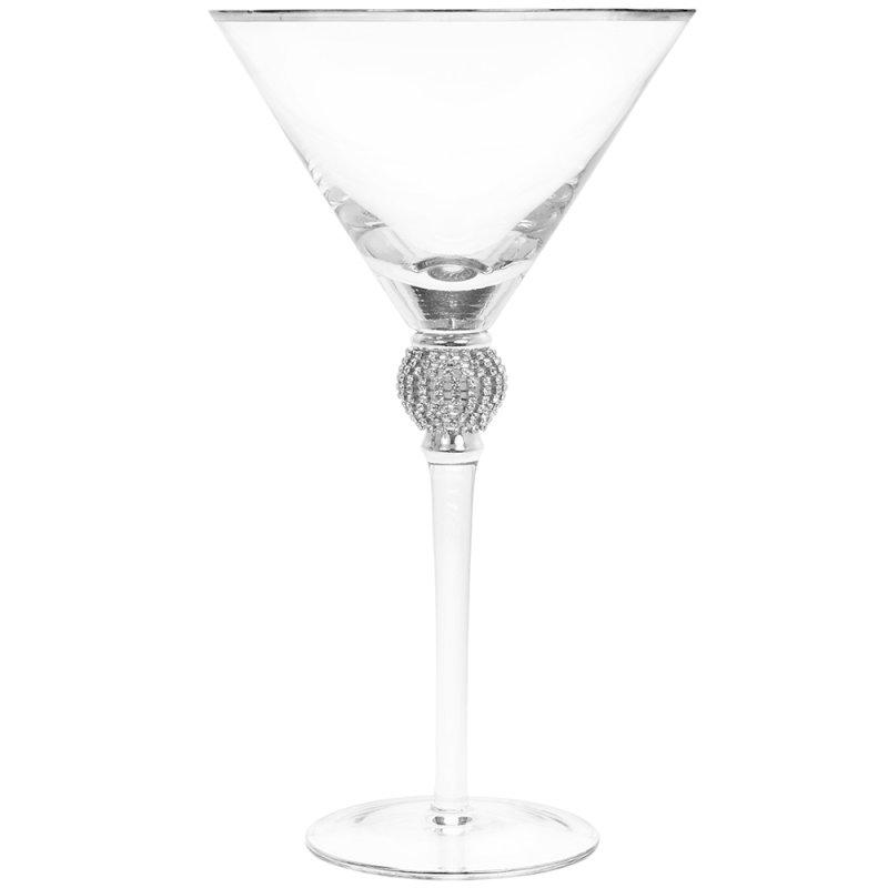 DIAMANTE SILVER MARTINI GLASS