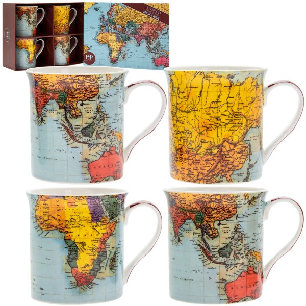 WORLD TRAVELLER SET OF 4 MUGS