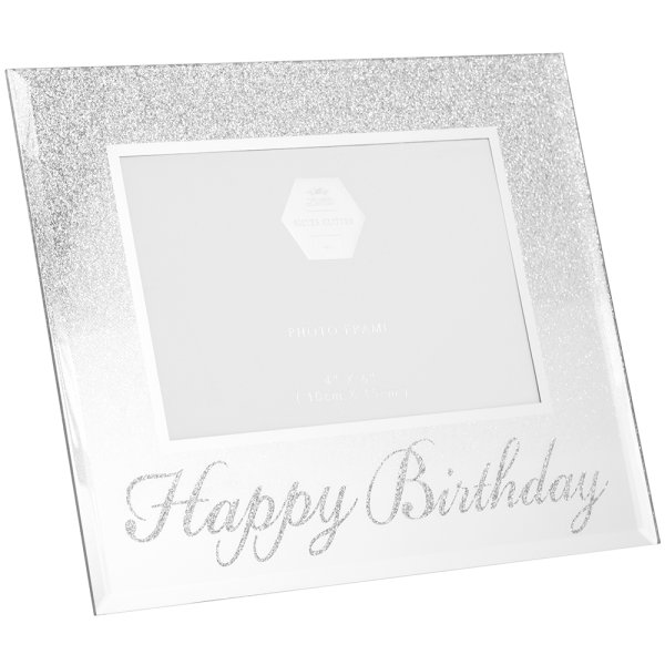 SILVER HAPPY BDAY FRAME 4X6