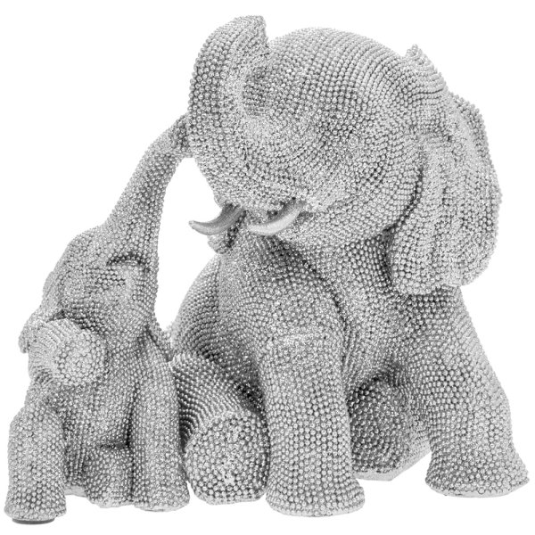 SILVER ART ELEPHANT AND CALF
