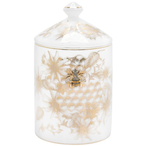 HONEYCOMB BEES CANDLE JAR GOLD