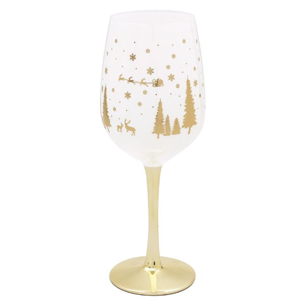 XMAS WINE GLASS GOLD WOODLAND