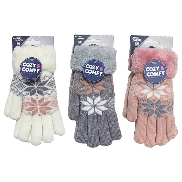 COZY LADIES GLOVES 3 ASS