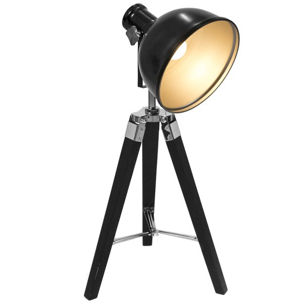 TRIPOD TABLE LAMP BLACK/SILVER