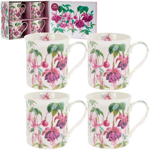 FUSCHIA MUGS SET 4
