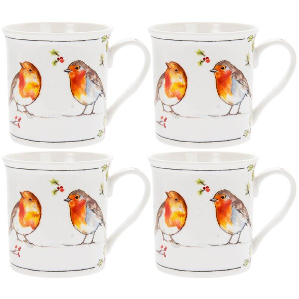 WINTER ROBINS SET OF 4 MUGS