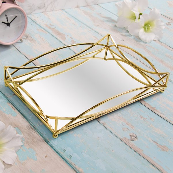GOLD CRYSTAL TRAY 29X19 CM