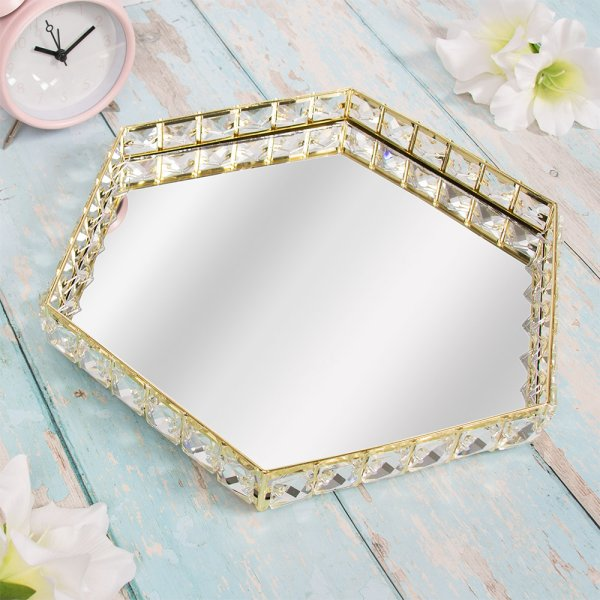 GOLD CRYSTAL TRAY HEX 33CM